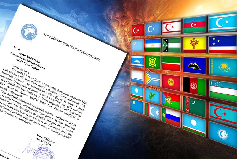 Türk Dünyası Öğrenci Derneği'nden Yağcılar'a kutlama mesajı