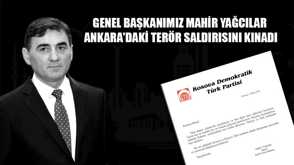 Genel Başkanımız Mahir YAĞCILAR Ankara'daki terör saldırısını kınadı
