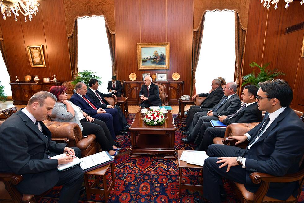 Kosova Demokratik Türk Partisi Genel Başkanı Yağcılar ve Heyeti, TBMM Başkanı İsmail Kahraman'ı ziyarete etti