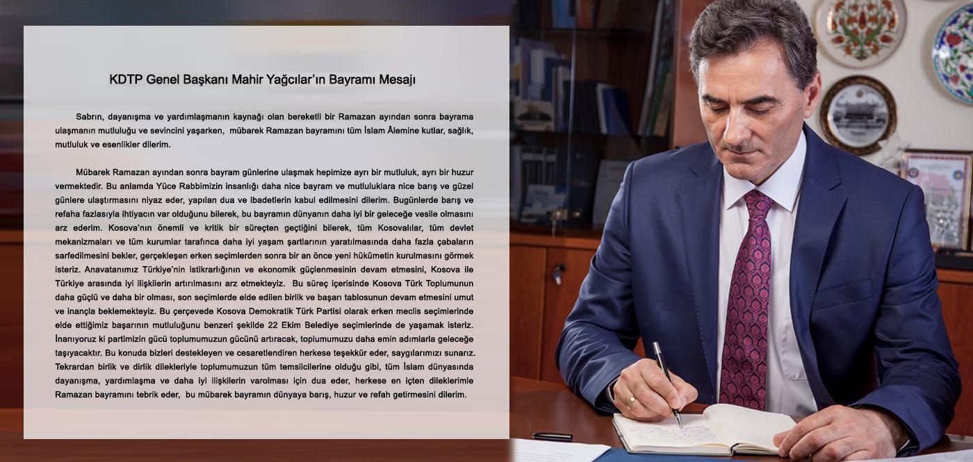 KDTP Genel Başkanı Mahir Yağcılar'ın Bayramı Mesajı