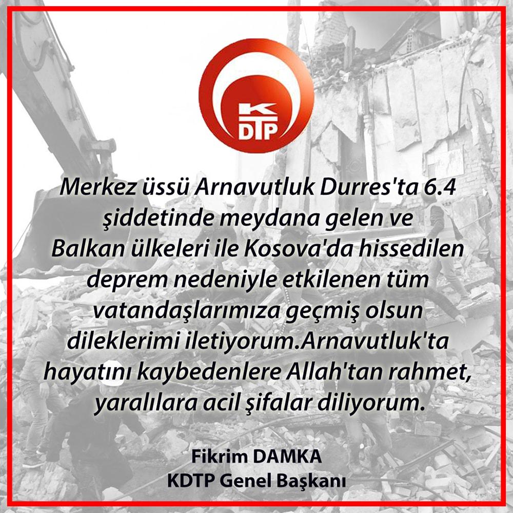 Genel Başkanımız Fikrim DAMKA'dan Geçmiş Olsun Mesajı