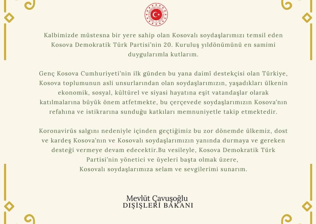 T. C. Dışişleri Bakanı Mevlüt Çavuşoğlu'ndan Tebrik Mesajı