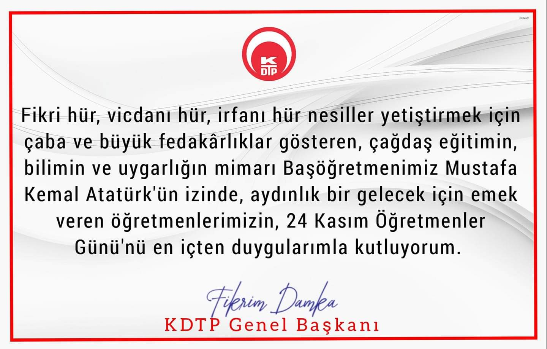 Genel Başkanımız Fikrim Damka'nın 24 Kasım Öğretmenler Günü münasebetiyle yayımladığı kutlama mesajı.